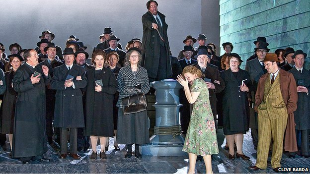 Some of the ENO company performing in David Alden's production of Britten's Peter Grimes