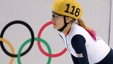 Great Britain's Elise Christie after crashing in her 1,000m short track semi-final