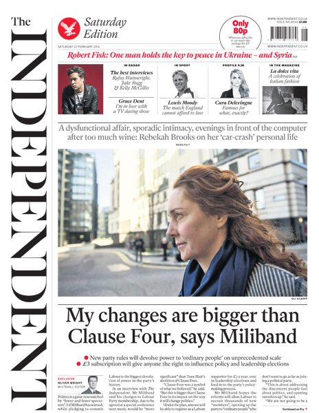 The Independent front page - 22/02/14