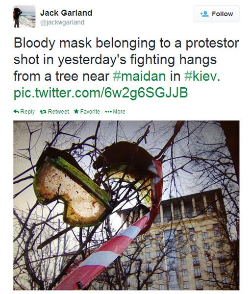 A picture tweeted by the BBC's Jack Garland with the caption: Bloody mask belonging to a protestor shot in yesterday's fighting hangs from a tree near #maidan in #kiev.