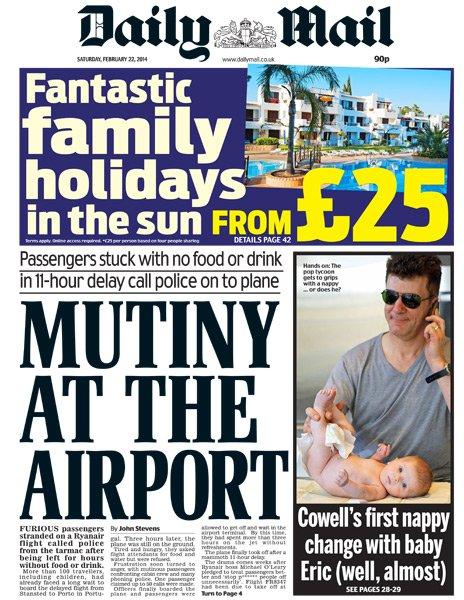 Daily Mail front page - 22/02/14