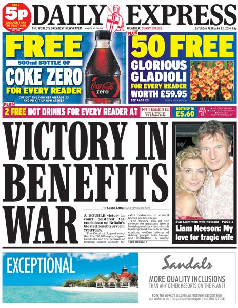 Daily Express front page - 22/02/14