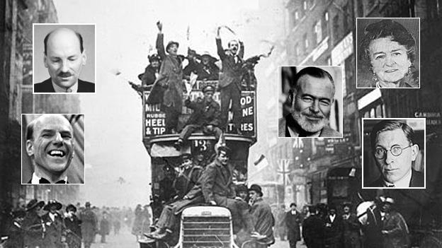 Armistice - clockwise from top right Elsie Knocker, Ernest Hemingway, Frederick Banting, Victor Silvester, Clement Attlee