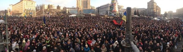 Thousands of protesters gathered in central Kiev