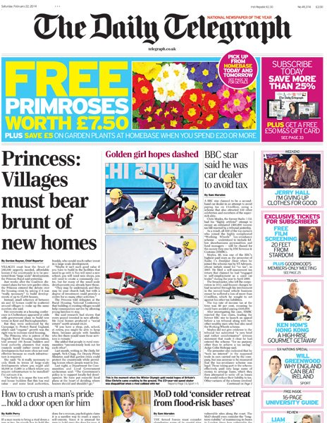 Daily Telegraph front page - 22/02/14