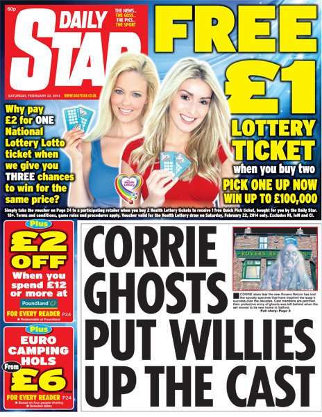 Daily Star front page - 22/02/14