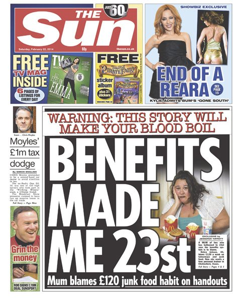 The Sun front page - 22/02/14