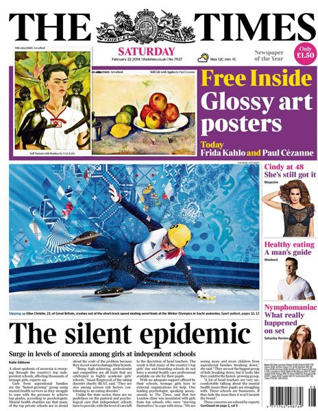 The Times front page - 22/02/14