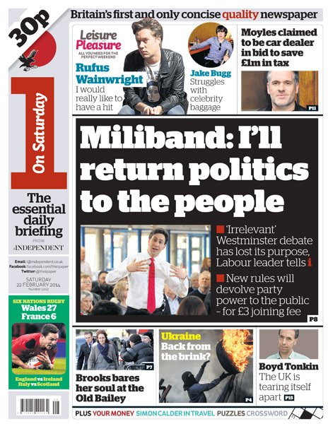 The i front page - 22/02/14
