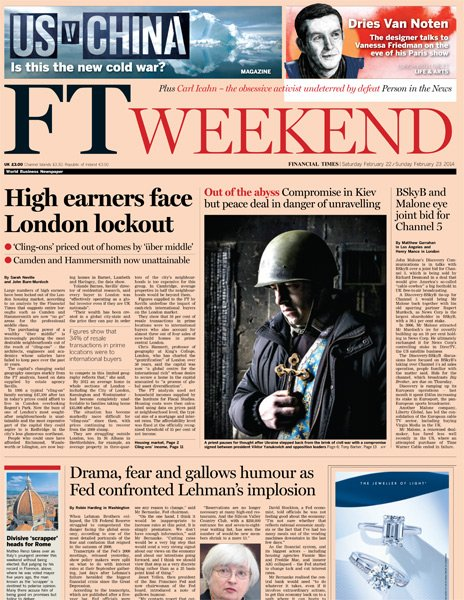 Financial Times front page - 22/02/14