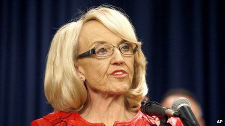 Arizona Governor Jan Brewer appeared in Phoenix, Arizona, on 2 December 2013