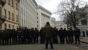 Protesters in front of presidential administration building in Kiev
