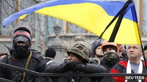 Protesters outside parliament in Kiev