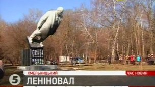 Kanal 5 shows statue of Lenin toppled