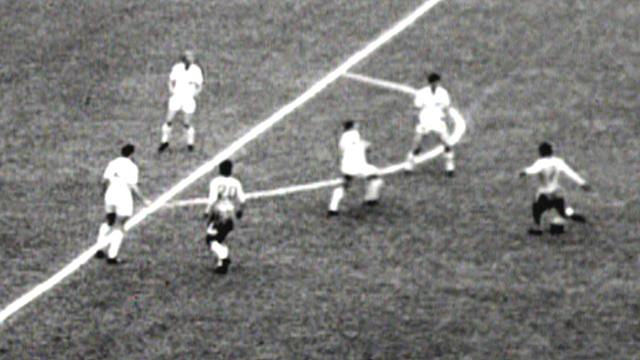 Garrincha scores for Brazil against England