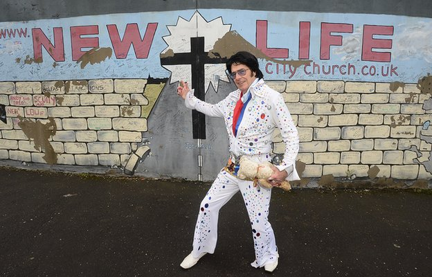 The Reverend Andy Kelso dressed as Elvis Presley
