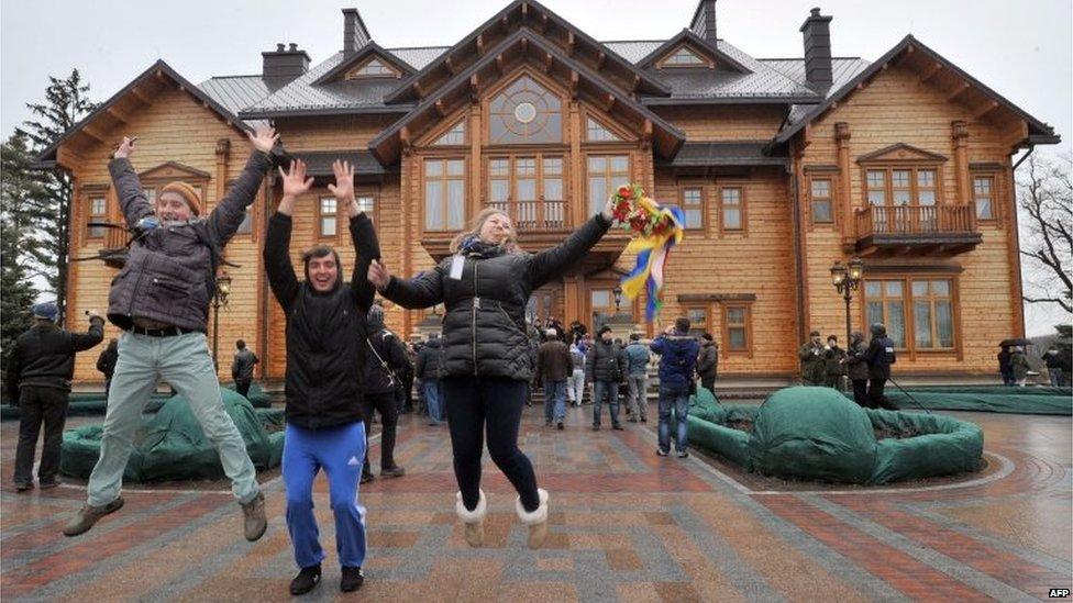 Protester celebrate in the presidential residence north of Kiev (22 Feb 2014)