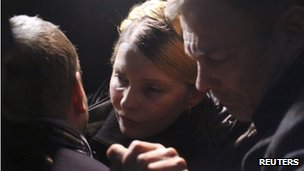 Ukrainian opposition leader Yulia Tymoshenko reacts after she was freed in Kharkiv