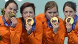 The Netherlands women celebrate gold