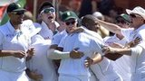 South Africa celebrate the wicket of David Warner on day three of the second Test in Port Elizabeth