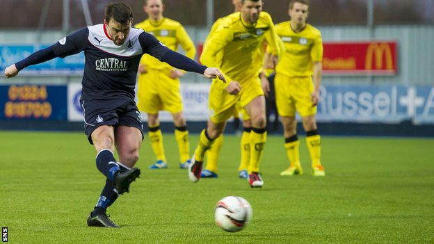 Mark Millar scores a penalty for Falkirk against Queen of the South