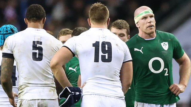 Ireland's Paul O'Connell congratulates England players at the end of the 6 Nations game at Twickenham