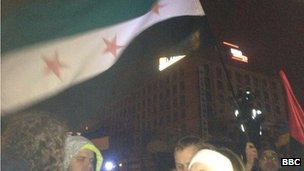 A Syrian flag in Independence Square