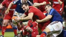 Sam Warburton dives to score Wales' second try against France
