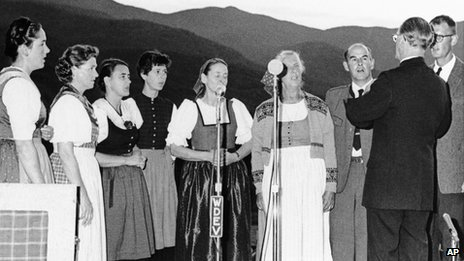 A 1966 file photo shows members of the Trapp family as they gave a public concert at the family lodge in Stowe, Vermont.