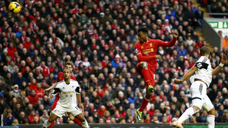 Daniel Sturridge scores for Liverpool v Swansea