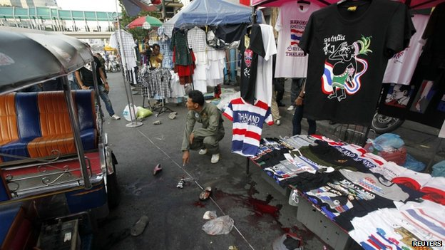 Scene of blast in Bangkok. 23 Feb 2013