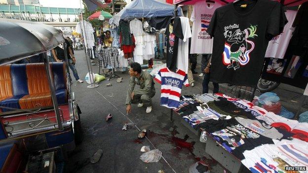 Scene of blast in Bangkok. 23 Feb 2013