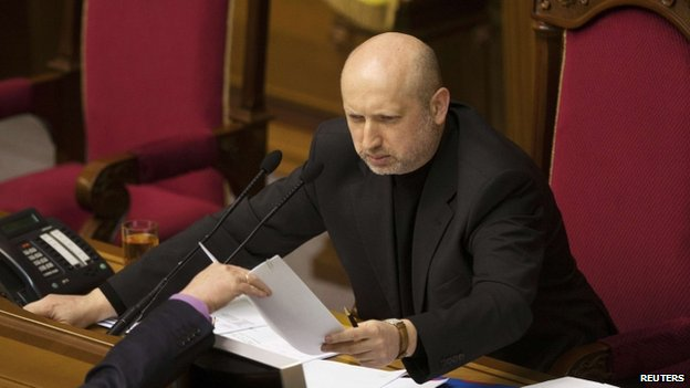 Newly-elected speaker of parliament Oleksander Turchynov attends a session in Kiev February 23, 2014