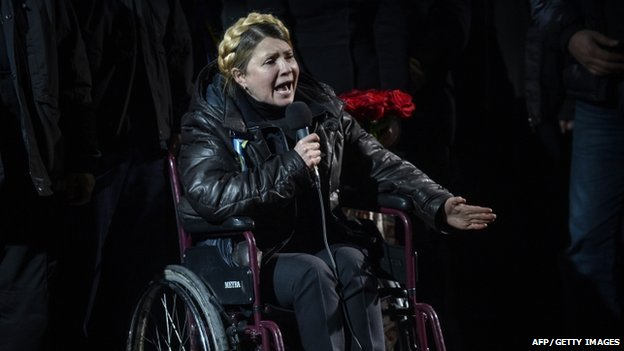 Newly freed Ukrainian opposition icon Yulia Tymoshenko speaks at Independence Square on February 22, 2014