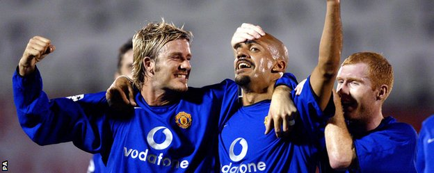 David Beckham, Juan Sebastian Veron and Paul Scholes