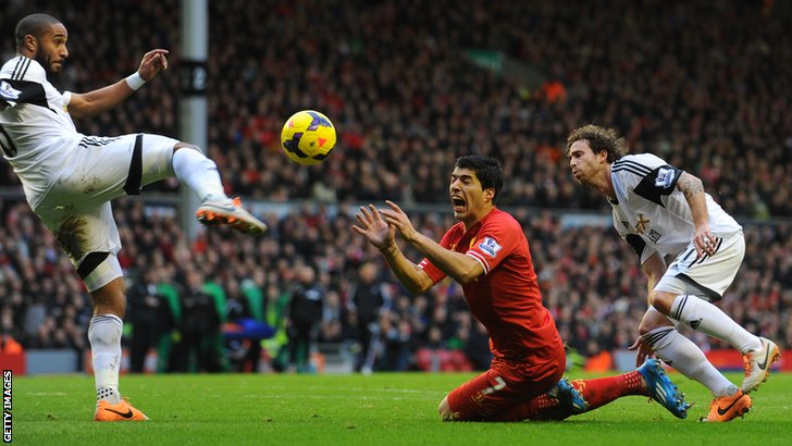 Luis Suarez of Liverpool v Swansea City