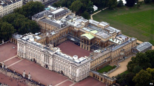 Aerial shot of Buckingham Palace