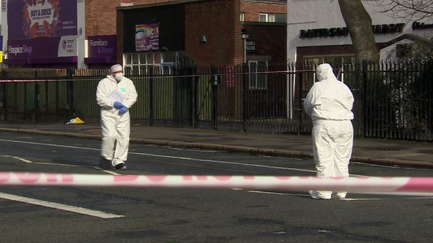 Forensic officers carried out a detailed search of the area