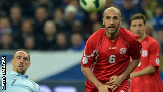 Georgia's Zurab Khizanishvili played in Scotland for Dundee and Rangers
