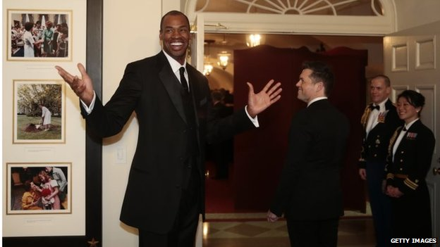 Jason Collins arrives at a state dinner hosted by President Barack Obama for French President Francois Hollande at the White House in February
