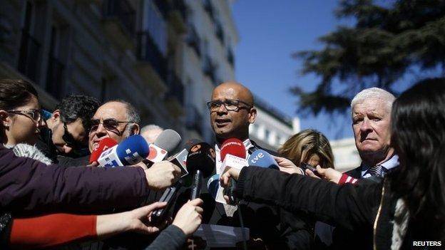 Head of the International Verification Commission (IVC) Ram Manikkalingam speaks to the media in Madrid on 23 February 2014