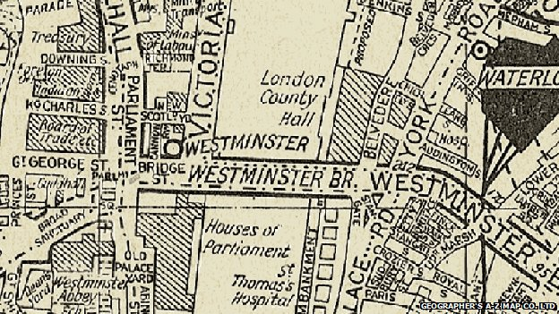 A 1936 A-Z map of London, before the introduction of colour