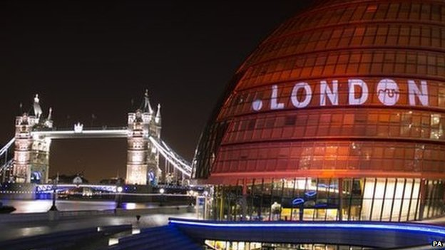 Dot London logo projected on City Hall