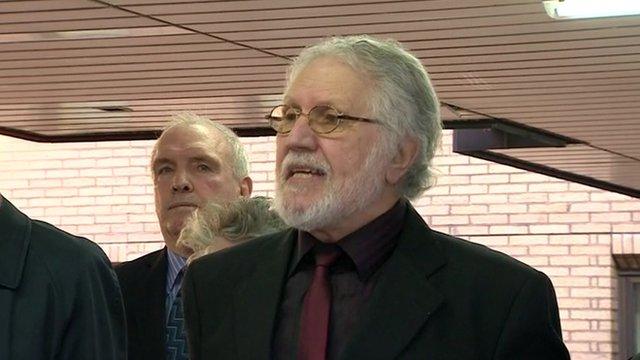 Dave Lee Travis speaks outside court