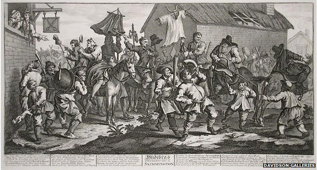 "Hogarth's engraving ""Hudibras Encounters the Skimmington"""