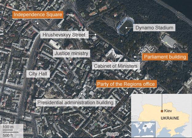 Map of central Kiev