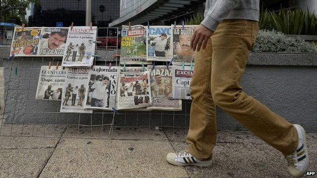 View of the covers of Mexican newspapers in Mexico City on 23 February, 2014