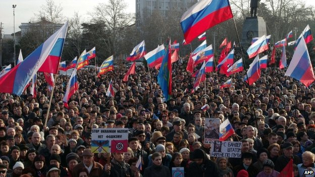 Pro-Russian protest in Sevastopol. Photo: 23 February 2014