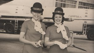 Janice Long in stewardess uniform