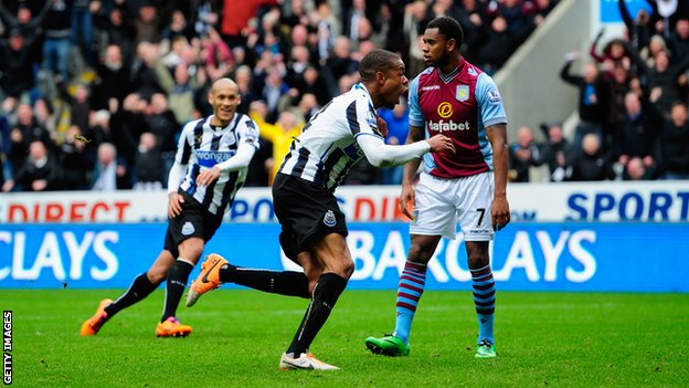 Loic Remy (centre) celebrates scoring the winning goal during against Aston Villa